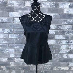 FOREVER 21 BLACK PLEATHER PEPLUM BLOUSE